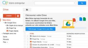 exemple de présentation de l'interface Google Drive