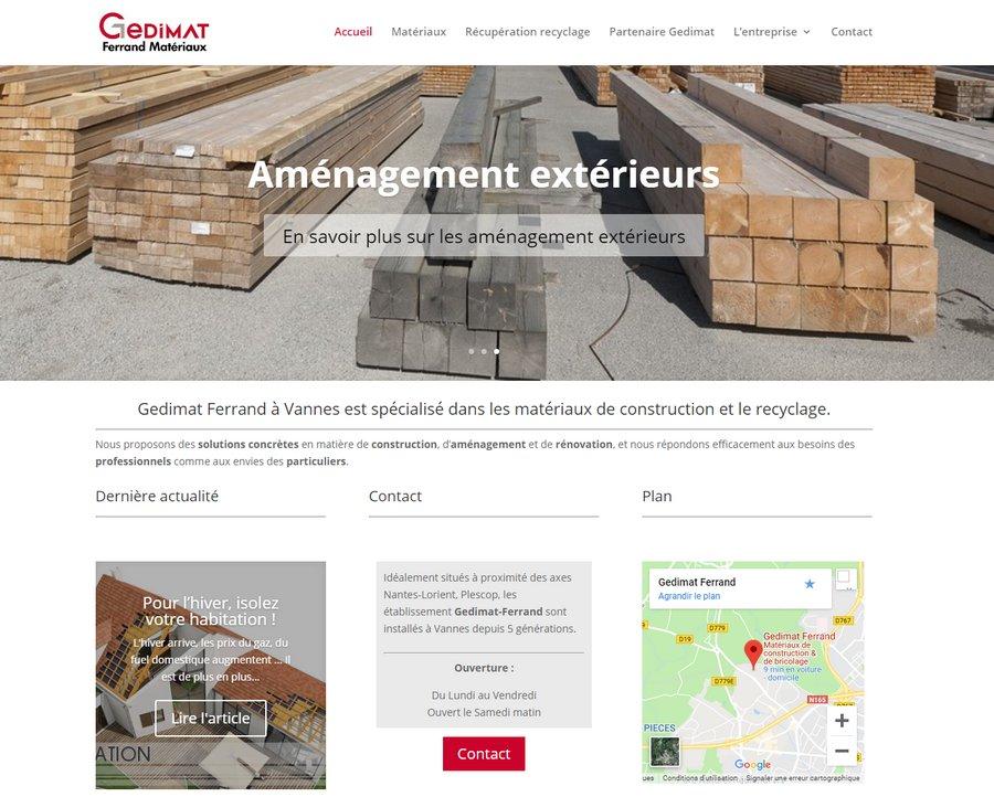site internet Gedimat Ferrand Vannes